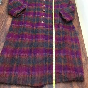 Alorna Jackets & Coats - ALORNA Womens Purple Green Plaid Button Down Coat